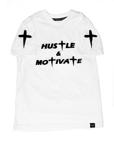 HUSTLE & MOTIVATE TEE - WHITE - Made4Mankind Clothing