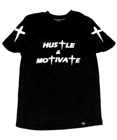 HUSTLE & MOTIVATE TEE - BLACK - Made4Mankind Clothing