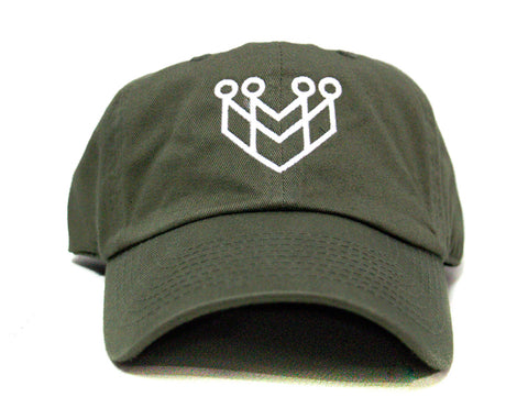 CROWN LOGO DAD HAT - OLIVE/WHITE - Made4Mankind Clothing
