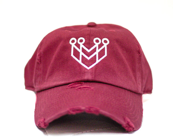 CROWN LOGO DISTRESSED DAD HAT - MAROON/WHITE - Made4Mankind Clothing
