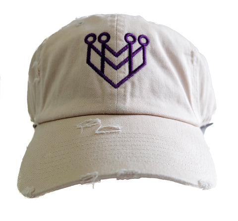 CROWN LOGO DISTRESSED DAD HAT - STONE/PURPLE - Made4Mankind Clothing