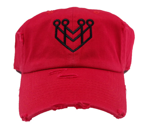 CROWN LOGO DISTRESSED DAD HAT - RED/BLACK - Made4Mankind Clothing
