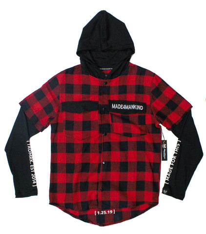 CLASSIC LOGO HOODED FLANNEL - RED/BLACK - Made4Mankind Clothing