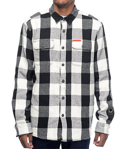 CLASSIC LOGO FLANNEL - BLACK/WHITE (UNISEX) - Made4Mankind Clothing