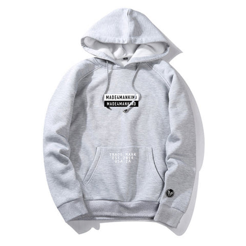 BOX LOGO HOODIE - GREY - Made4Mankind Clothing