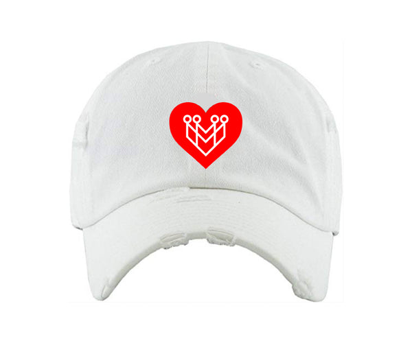 HEART LOGO DISTRESSED DAD HAT - WHITE - Made4Mankind Clothing