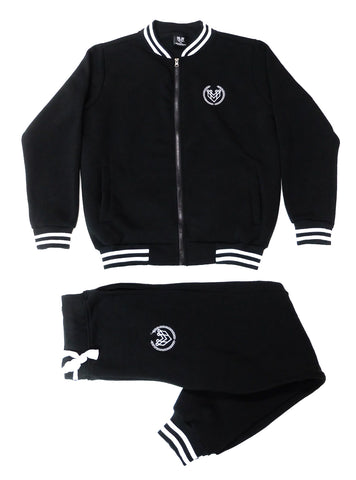 SMALL LOGO VARSITY SWEATSUIT - BLACK - Made4Mankind Clothing
