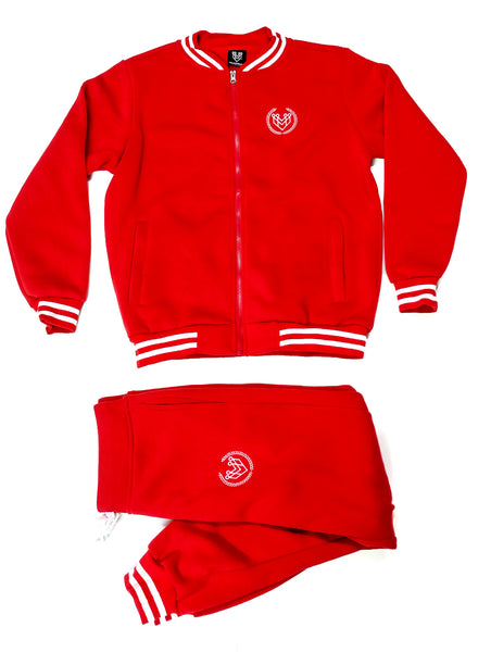 SMALL LOGO VARSITY ZIPUP JACKET - RED - Made4Mankind Clothing