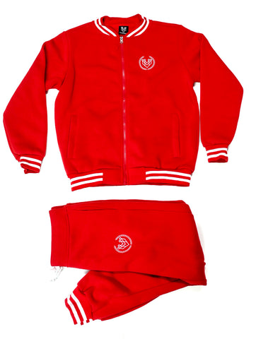 SMALL LOGO VARSITY JOGGER - RED - Made4Mankind Clothing