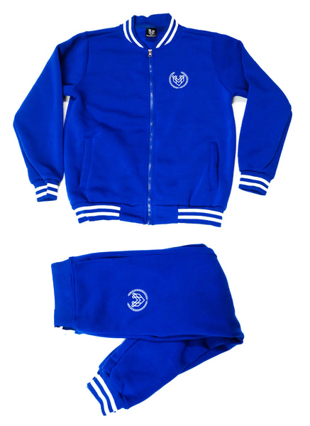 SMALL LOGO VARSITY ZIP UP JACKET - ROYAL BLUE - Made4Mankind Clothing
