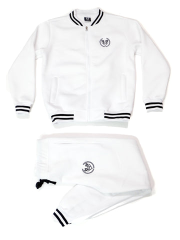 SMALL LOGO VARSITY SWEATSUIT - WHITE - Made4Mankind Clothing