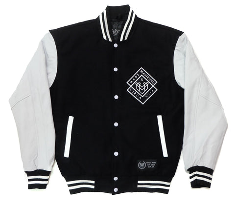CLASSIC LETTERMAN JACKET - BLACK/WHITE - Made4Mankind Clothing