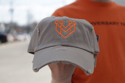 CROWN LOGO DISTRESSED DAD HAT - KHAKI/ORANGE - Made4Mankind Clothing