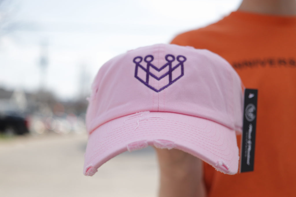 d243a0be2c7e38 CROWN LOGO DISTRESSED DAD HAT - LT. PINK/PURPLE - Made4Mankind Clothing
