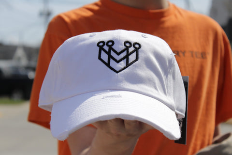 CROWN LOGO DISTRESSED DAD HAT - WHITE/BLACK - Made4Mankind Clothing