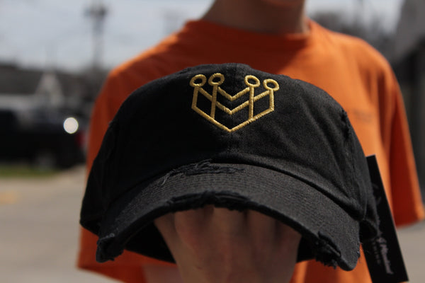 """CROWN LOGO"" DISTRESSED DAD HAT - BLACK/GOLD - Made4Mankind Clothing"