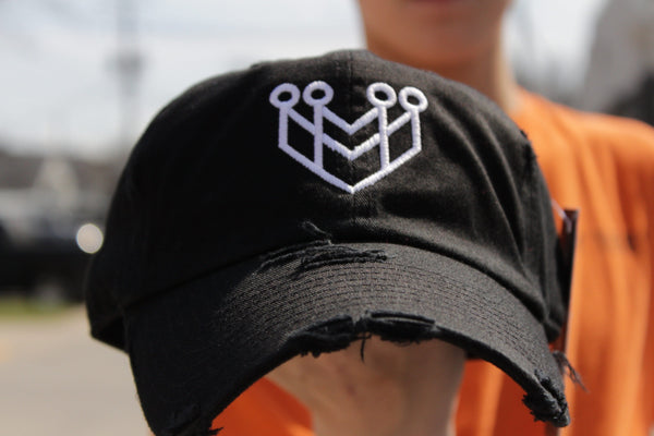 """CROWN LOGO"" DISTRESSED DAD HAT - BLACK/WHITE - Made4Mankind Clothing"