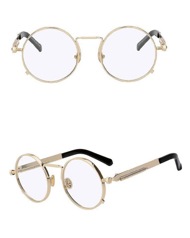 VINTAGE ROUND SUNGLASSES - CLEAR/GOLD - Made4Mankind Clothing