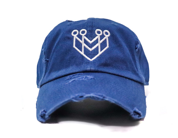 CROWN LOGO DISTRESSED DAD HAT - NAVY/WHITE - Made4Mankind Clothing