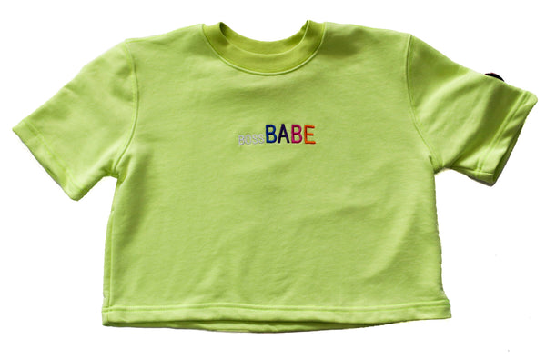BOSS BABE CROP TOP TEE - NEON LIME - Made4Mankind Clothing