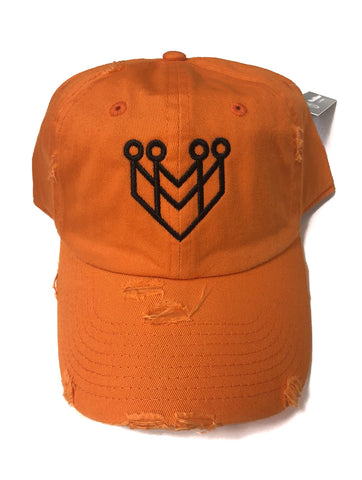 """CROWN LOGO"" DISTRESSED DAD HAT - ORANGE/BLACK - Made4Mankind Clothing"