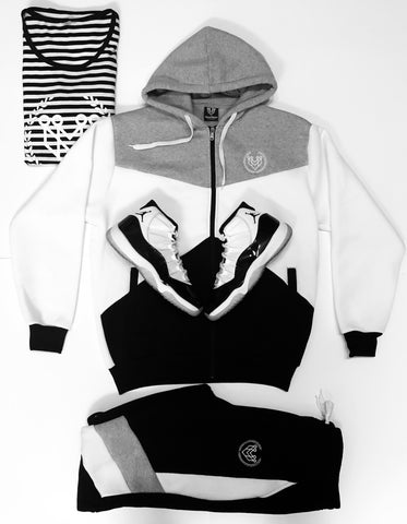 Small Logo Colorblock Zip Up Set - Black - Made4Mankind Clothing