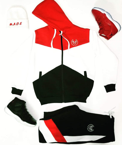 Small Logo Colorblock Zip Up Set - Red - Made4Mankind Clothing