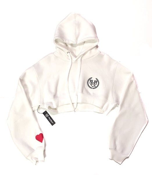 Classic Logo Crop Top Hoodie - White - Made4Mankind Clothing