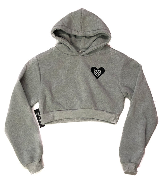 Heart Logo Crop Top Hoodie - Heather Grey - Made4Mankind Clothing