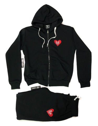 HEART LOGO WOMENS ZIP UP SET - BLACK - Made4Mankind Clothing