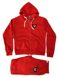 HEART LOGO WOMENS ZIP UP SET - RED - Made4Mankind Clothing