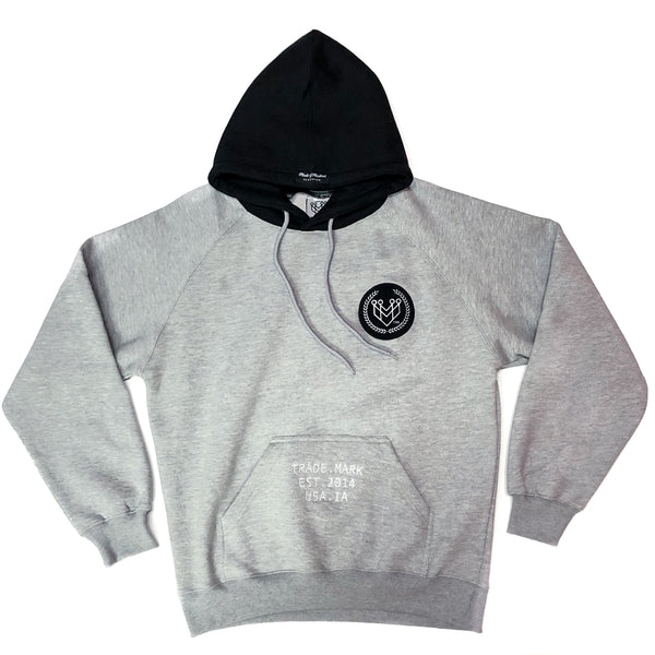 CROWN LOGO RAGLAN HOODIE - HEATHER GREY - Made4Mankind Clothing