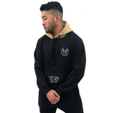 CROWN LOGO RAGLAN HOODIE - BLACK - Made4Mankind Clothing