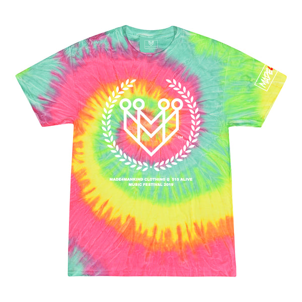 CLASSIC LOGO TIE-DYE TEES (515 ALIVE EXCLUSIVE) - MINTY RAINBOW - Made4Mankind Clothing
