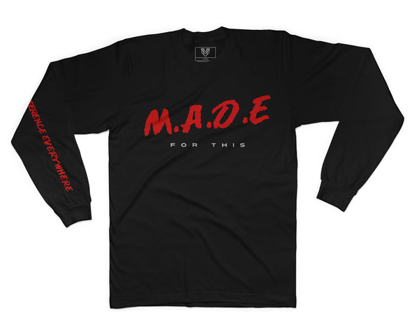 MADE FOR THIS L/S TEE - BLACK - Made4Mankind Clothing