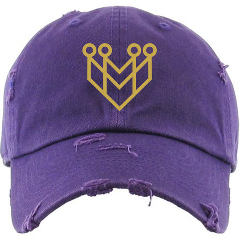 """CROWN LOGO"" DISTRESSED DAD HAT - PURPLE/GOLD - Made4Mankind Clothing"