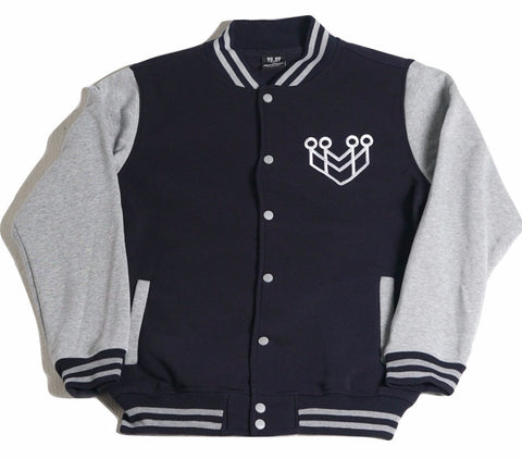BASIC LOGO VARSITY JACKET - NAVY/GREY - Made4Mankind Clothing