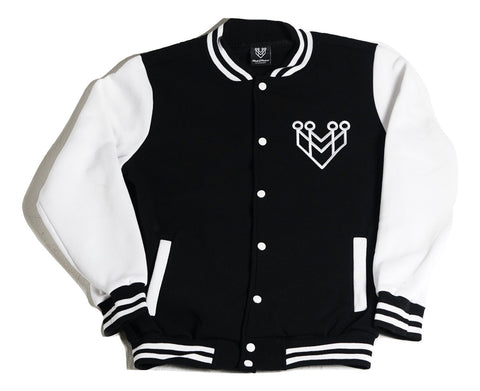BASIC LOGO VARSITY JACKET - BLACK/WHITE - Made4Mankind Clothing