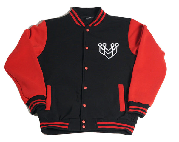 BASIC LOGO VARSITY JACKET - RED/BLACK - Made4Mankind Clothing