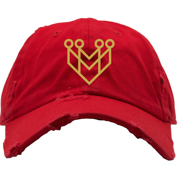 """CROWN LOGO"" DISTRESSED DAD HAT - RED/GOLD - Made4Mankind Clothing"
