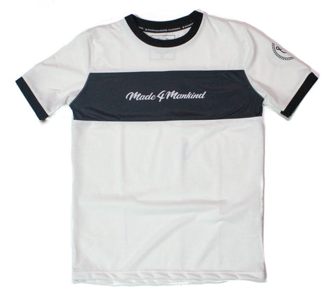 SCRIPT PANEL RINGER TEE - WHITE - Made4Mankind Clothing