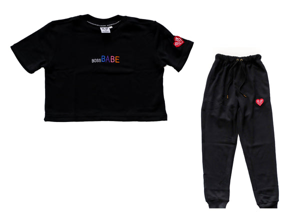 BOSS BABE CROP TOP & JOGGER FIT - BLACK - Made4Mankind Clothing