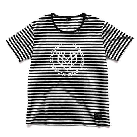 CLASSIC LOGO PREMIUM STRIPE TEE (BLACK/WHITE) - Made4Mankind Clothing