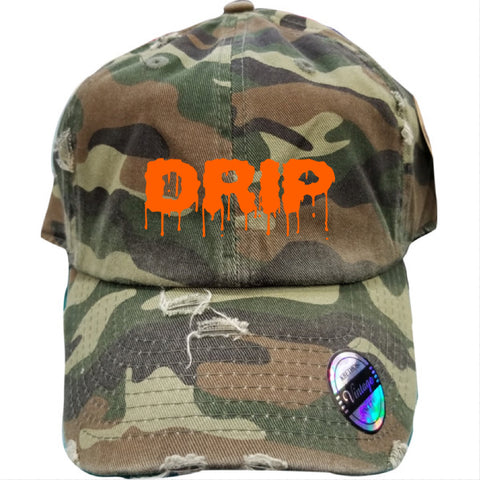 """DRIP"" DISTRESSED DAD HAT - GREEN CAMO/ORANGE - Made4Mankind Clothing"