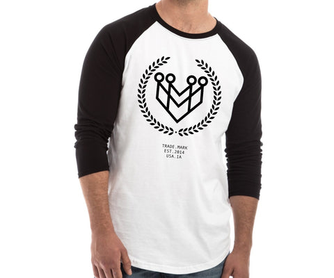 CLASSIC LOGO RAGLAN TEE - WHITE/BLACK (UNISEX) - Made4Mankind Clothing