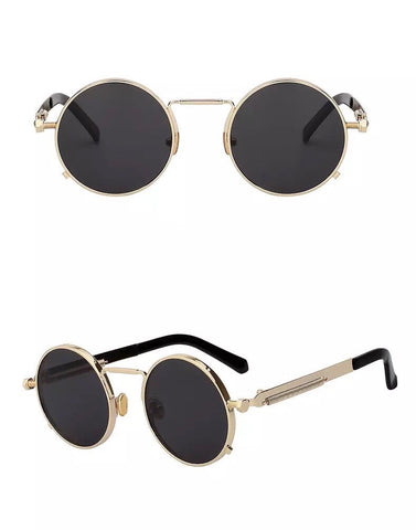 VINTAGE ROUND SUNGLASSES - BLACK/GOLD - Made4Mankind Clothing