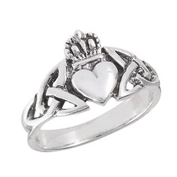 Sterling Silver Claddagh with Trinity knots ring