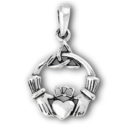 "Sterling Silver Claddagh Pendant with 18"" chain"