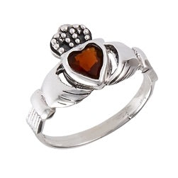 Sterling Silver Claddagh with simulated stone