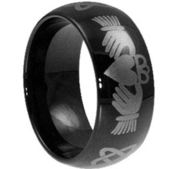 Size 7 to 15 8MM Black Claddagh Ring